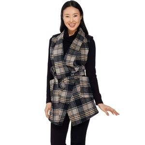 Lisa Rinna Plaid Vest With Faux Leather Detail